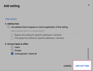"Click ""Add Setting"" to finish."